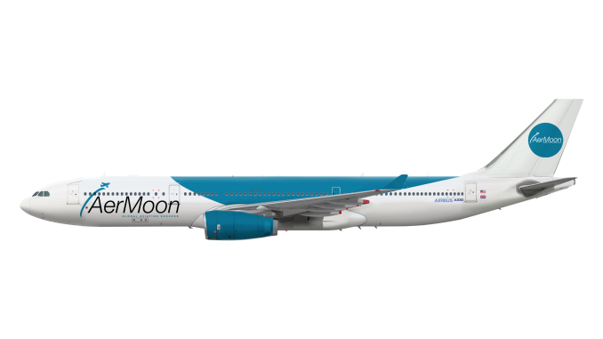 Airbus A330 in the AerMoon livery – James Moon Group
